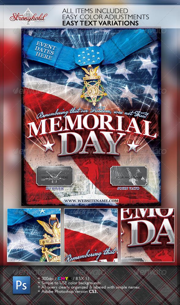 GraphicRiver Memorial Day Patriotic Flyer Template 2165085