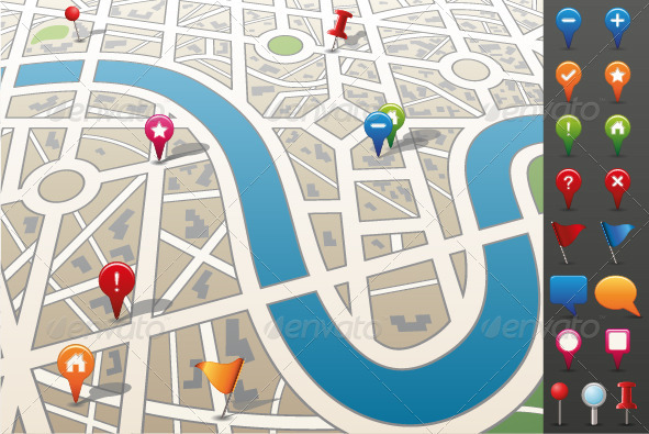 GraphicRiver City map with GPS Icons 2192677