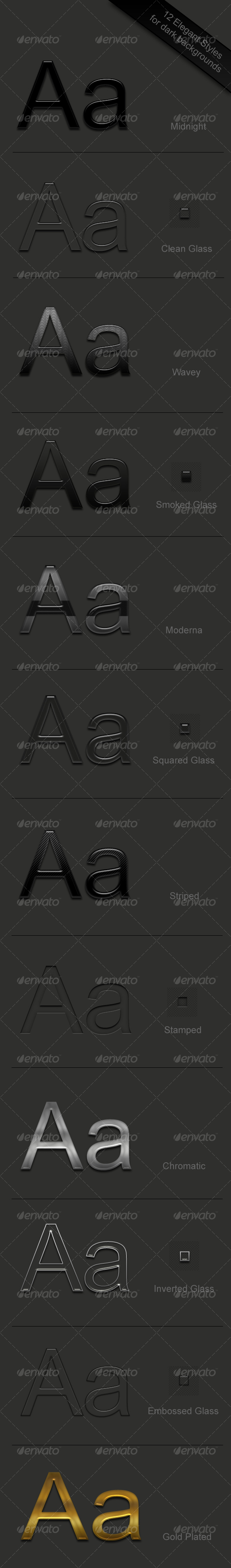 GraphicRiver 12 Elegant Text Styles for drak backgrounds 68896