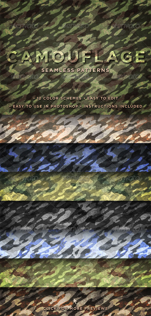GraphicRiver Camouflage Seamless Patterns 162512