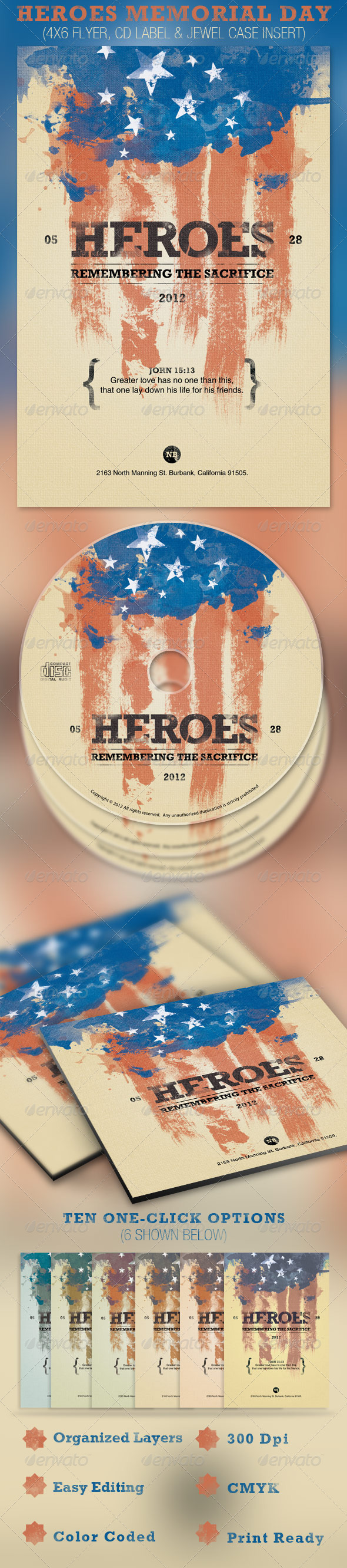 GraphicRiver Heroes Memorial Day Flyer and CD Template 2204627