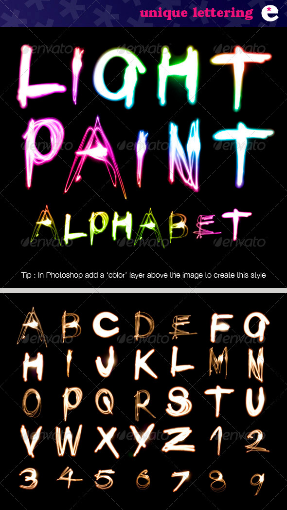 GraphicRiver Light Painted Alphabet on Black 2204840