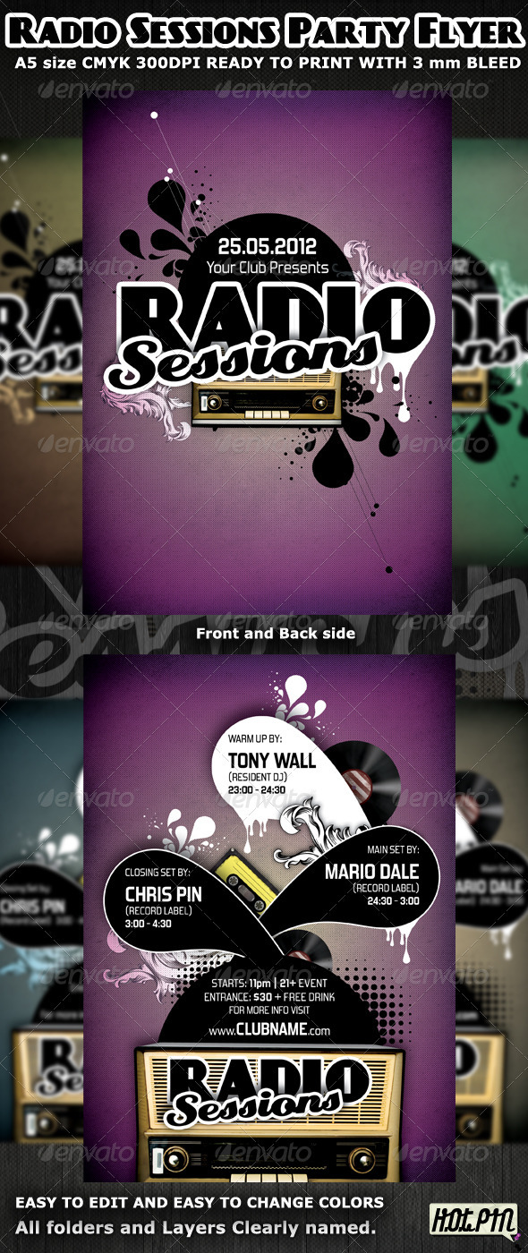 GraphicRiver Radio Sessions Party Flyer Template 2184744