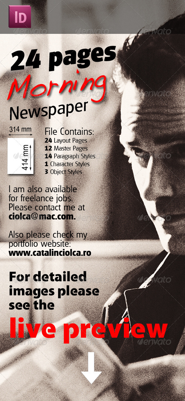 Graphic River 12 Pages Morning Newspaper Print Templates -  Miscellaneous 1049822