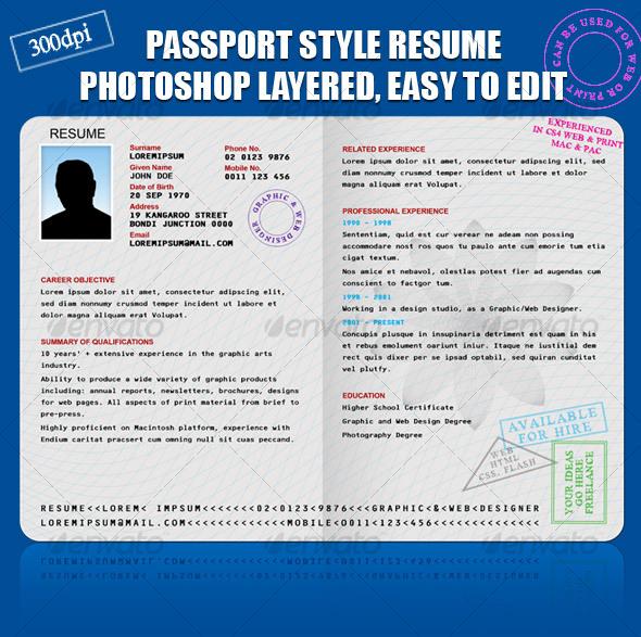 GraphicRiver RESUME CV PASSPORT STYLE 82717