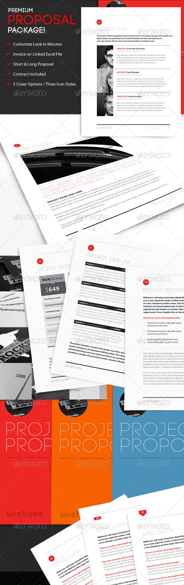 Graphic River Wireframe Proposal Template w/ Invoice & Contract Print Templates -  Stationery  Proposals & Invoices 544155