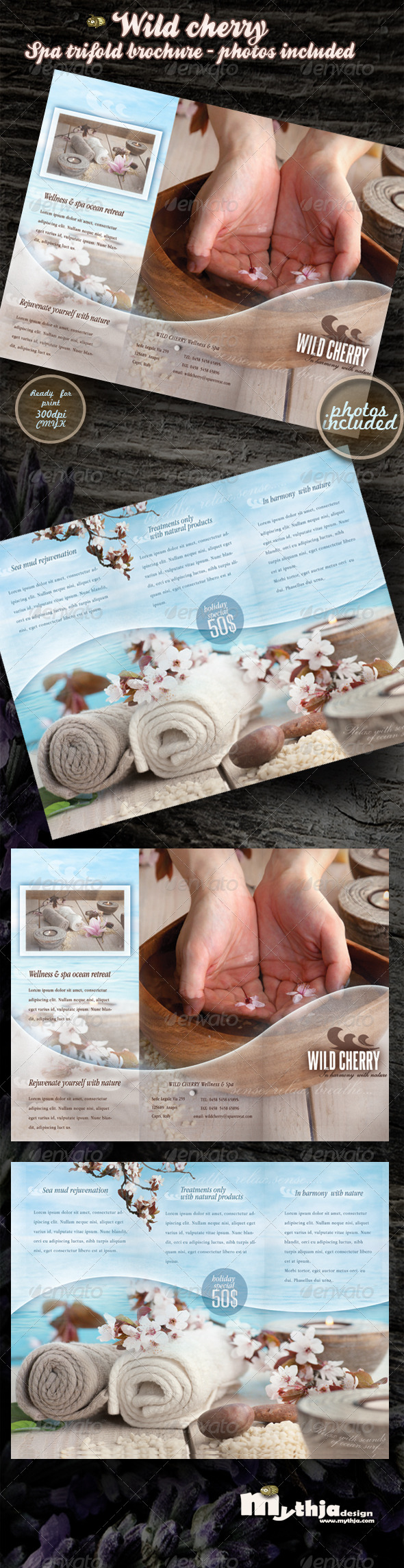 GraphicRiver Wild cherry spa & wellness trifold brochure 2174989