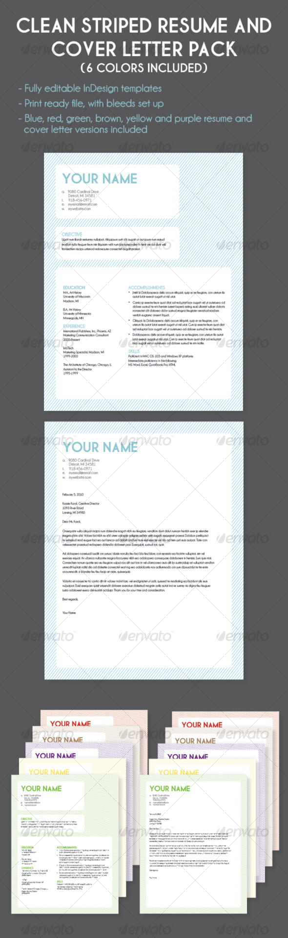 GraphicRiver Striped Resume and Cover Letter Multi-Color Pack 83384