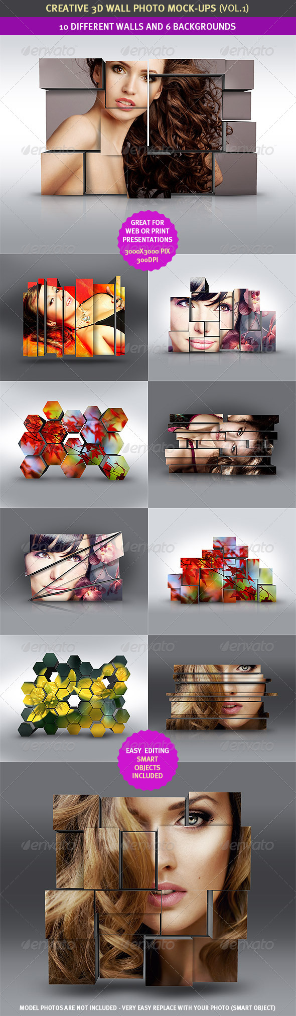 GraphicRiver 3D Wall Photo Mock-Ups 1 2233622