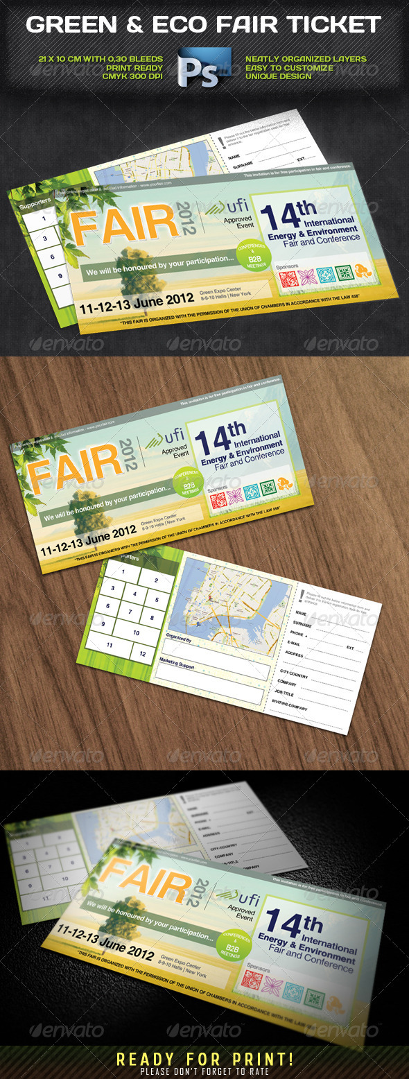 GraphicRiver Green & Eco Fair Ticket 2215450