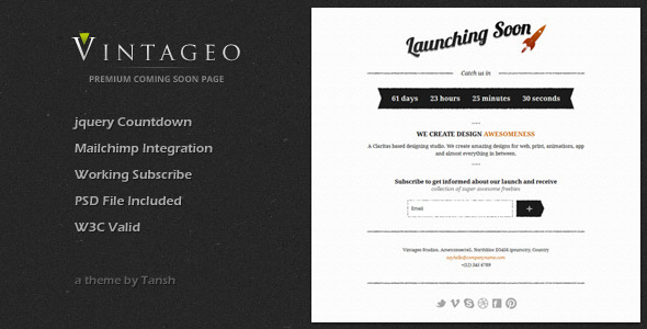 ThemeForest Vintageo Under Construction / Coming Soon Template Site Templates Specialty Pages Under Construction 2234833