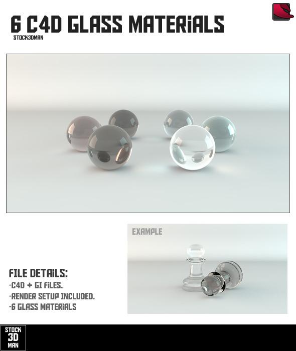 3DOcean 6 Cinema 4D Glass Materials 253598