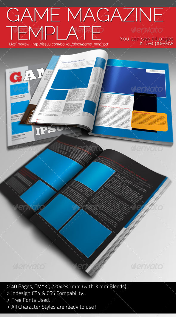 Game magazine template graphicriver for Indesign cs5 templates free download