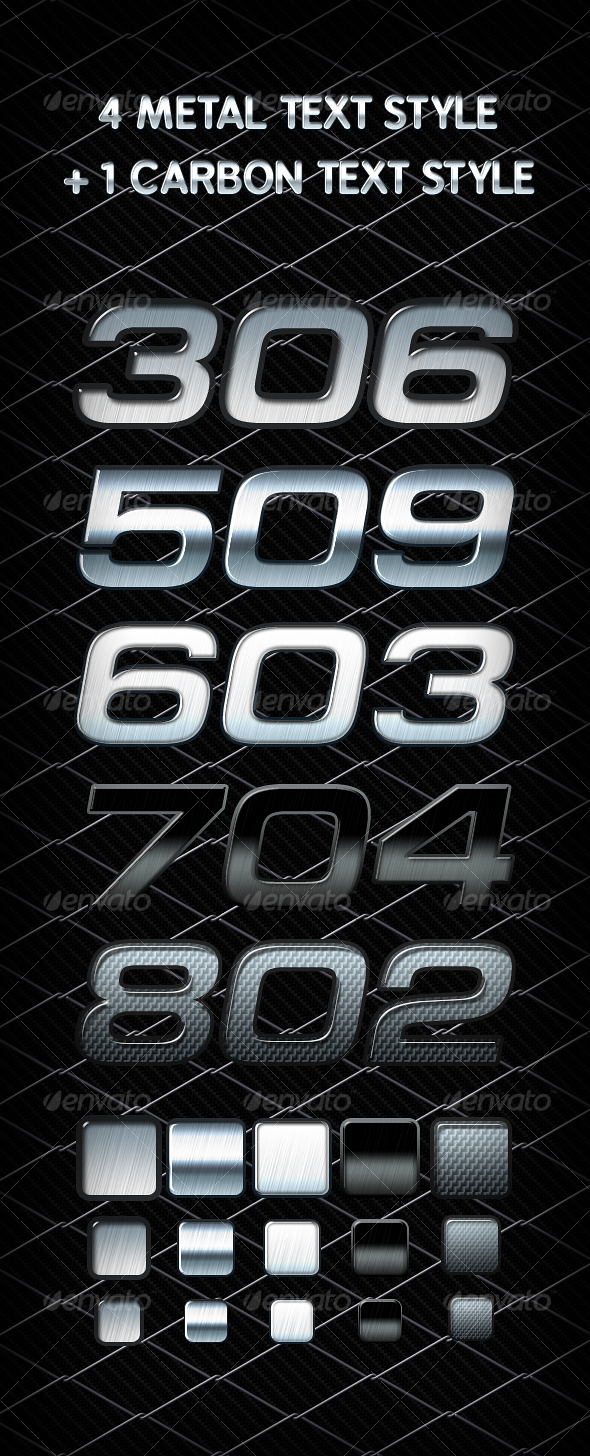 GraphicRiver 4 Metal & 1 Carbon text styles 83767