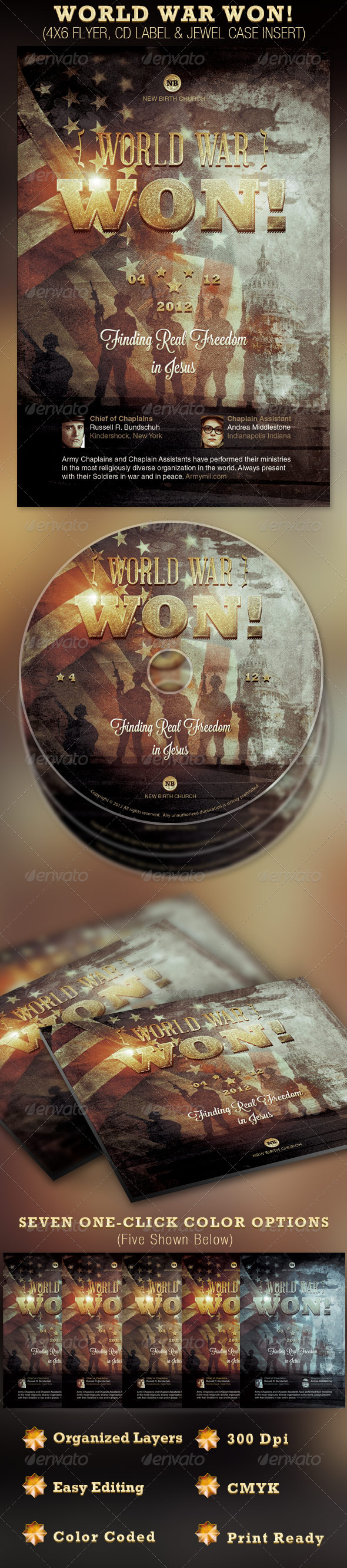 GraphicRiver World War Won Flyer and CD Template 2250065