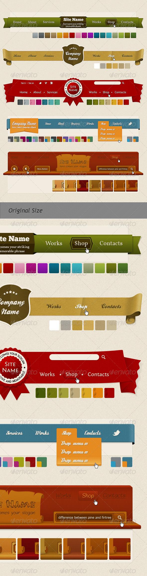 GraphicRiver Headers and Navigation Web Kit 254934