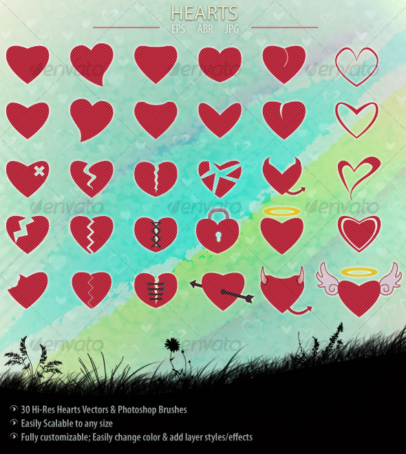 GraphicRiver Hearts 84058