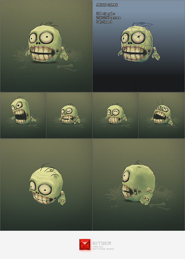 3DOcean Low Poly Micro Zombie Brian 1214365