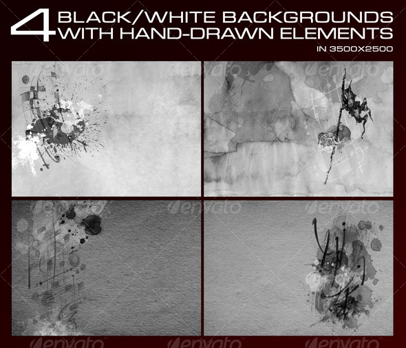 GraphicRiver 4 Black&White backgrounds with hand drawn elements 84143