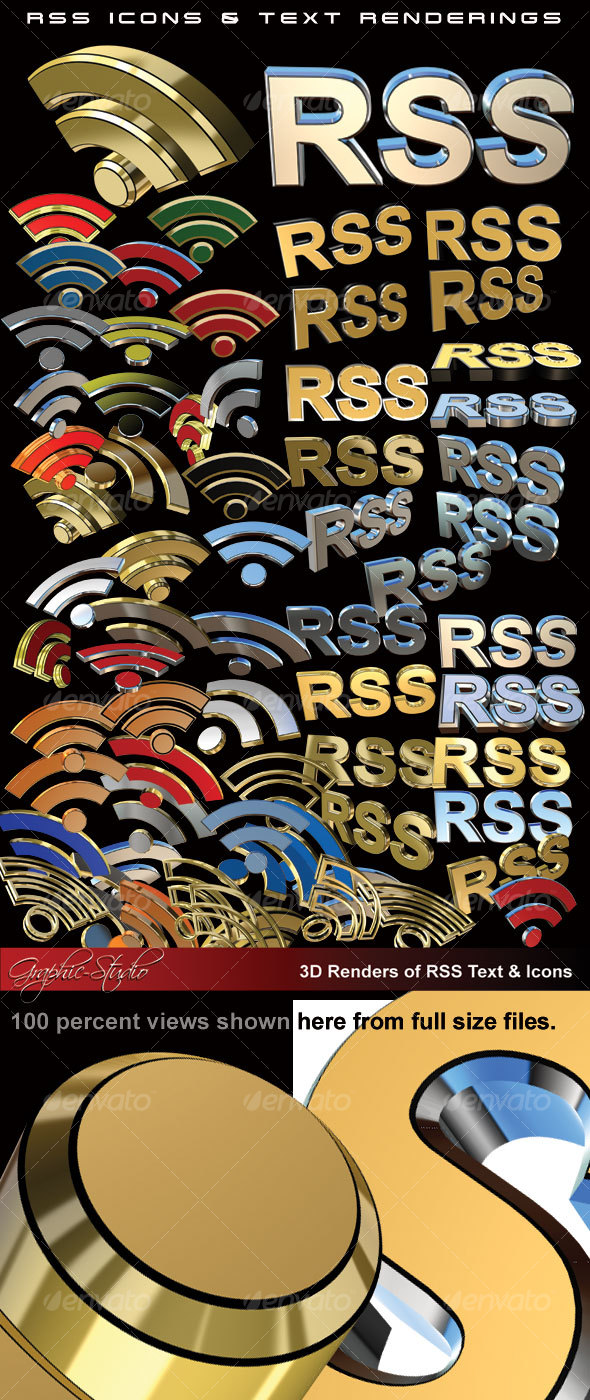 GraphicRiver 70& 3D RSS Icons & Text Renderings 84235