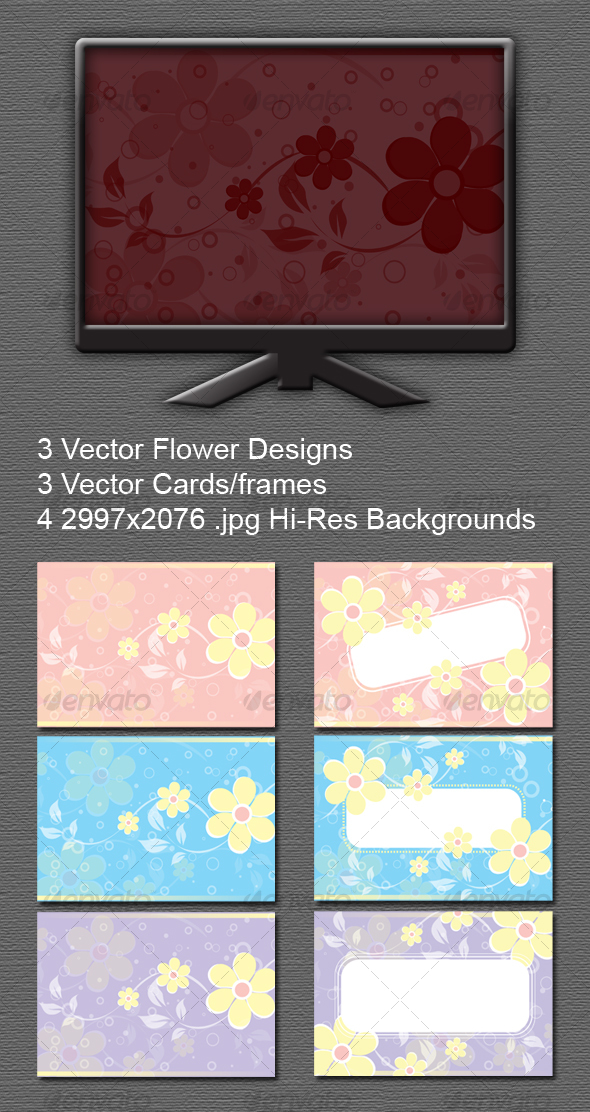 GraphicRiver Floral Backgrounds Cards Frames Vector 84345