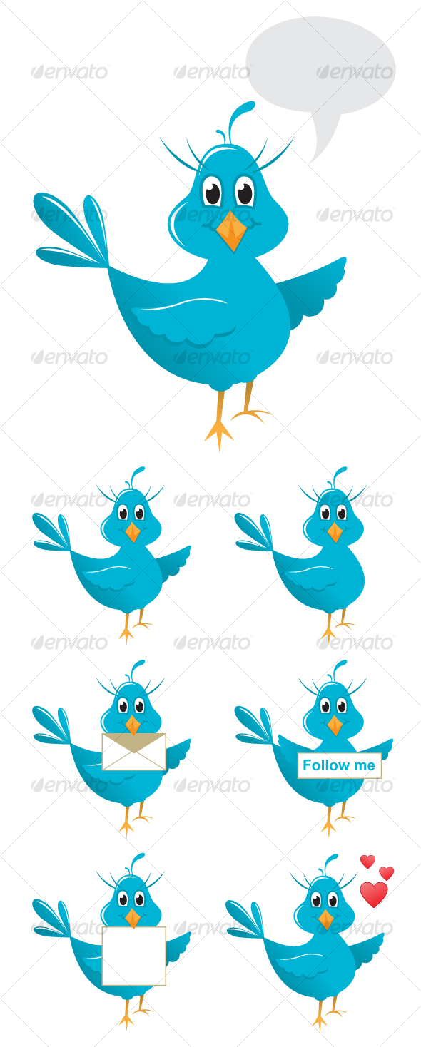 GraphicRiver Vector cute twitter bird 84707