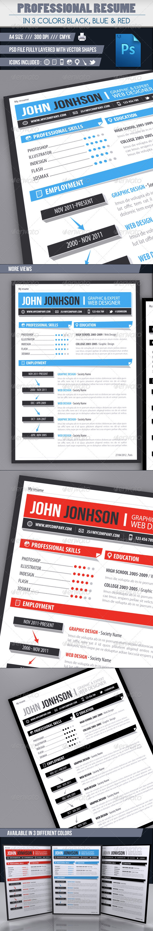 GraphicRiver Modern resume in 3 colors 2221010