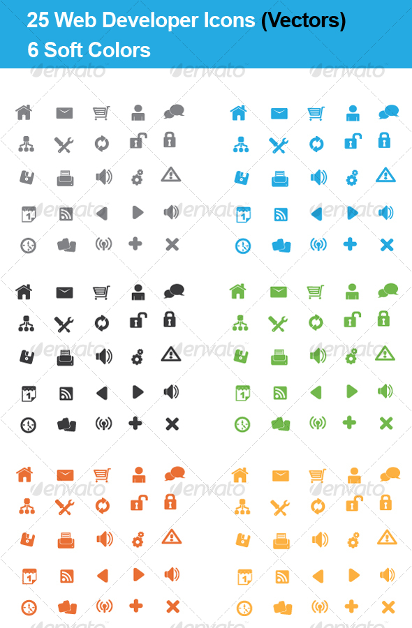 GraphicRiver 25 Web Developers Icons 4 Colors VECTOR 84884