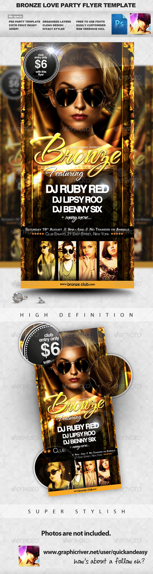 Graphic River Bronze Love Gold & Sexy Night Club Party Flyer Print Templates -  Flyers  Events  Clubs & Parties 299683