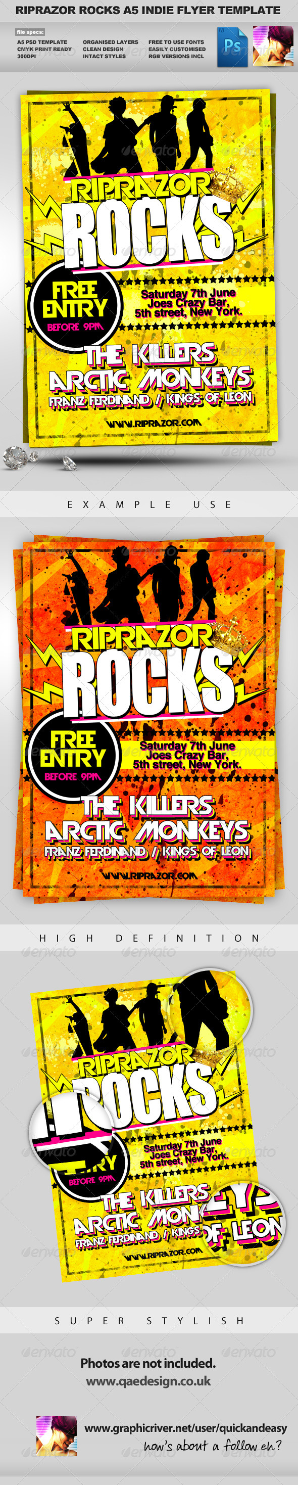 GraphicRiver RipRazor A5 Rock n Roll Indie Club Event Flyer 336055