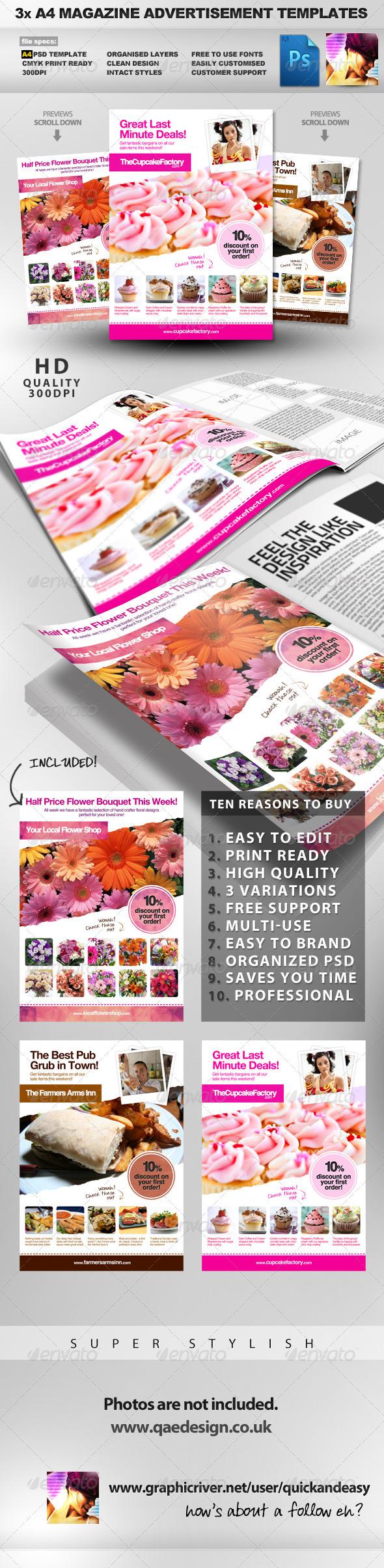GraphicRiver 3x A4 PSD Magazine Advert Templates 609016