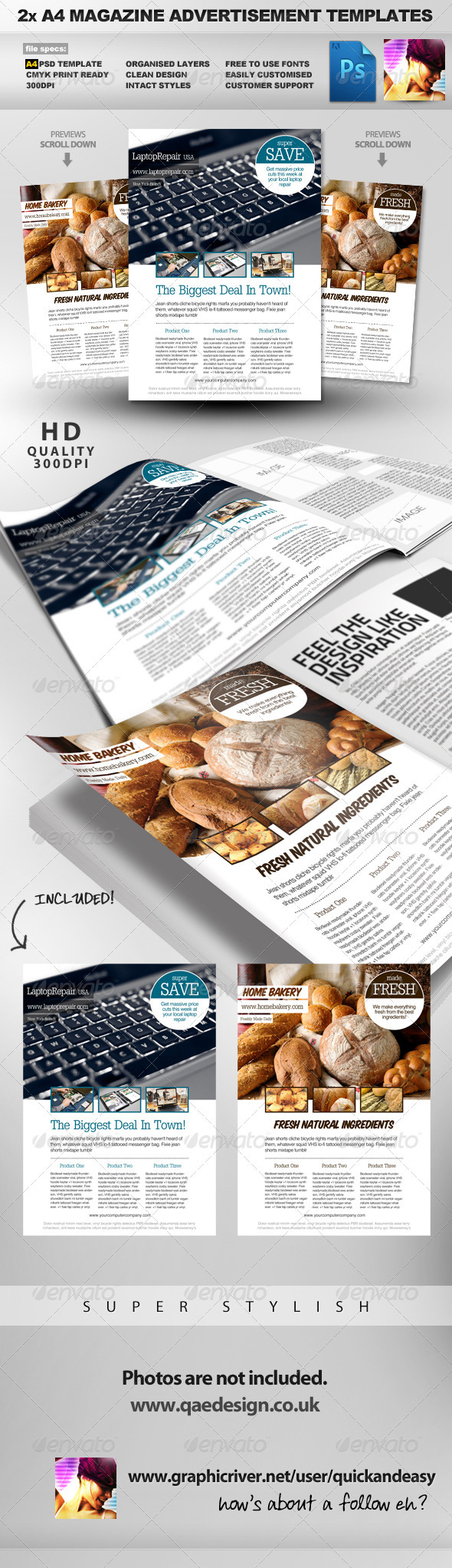 GraphicRiver 2 Feature Image A4 Magazine Ad Layout 614406