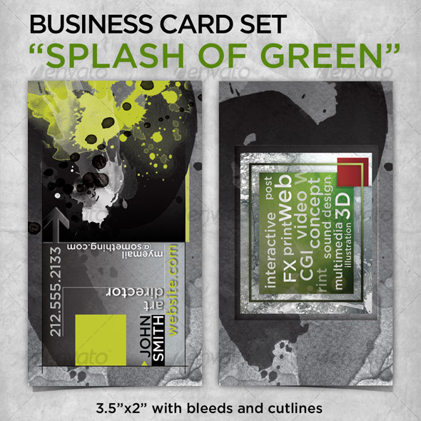 GraphicRiver business card The Splash of Green 85115