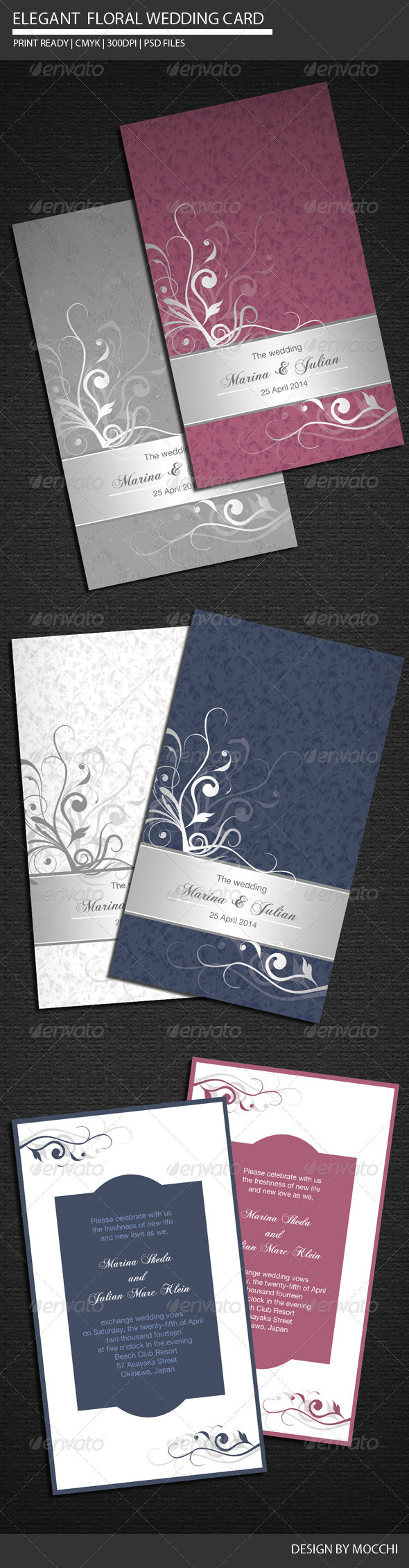 GraphicRiver Elegant Floral Wedding Card 2291535