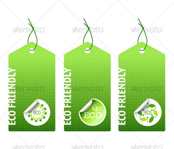 GraphicRiver Three Vector Green Bio Labels 85477