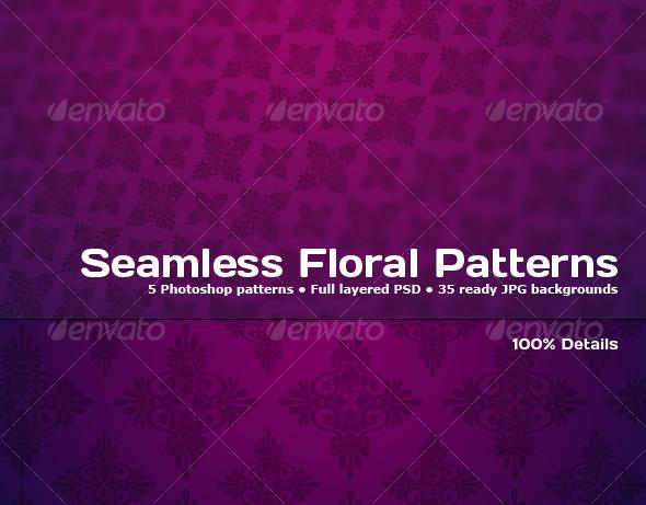 GraphicRiver 5 Tileable Floral Photoshop Patterns 85493
