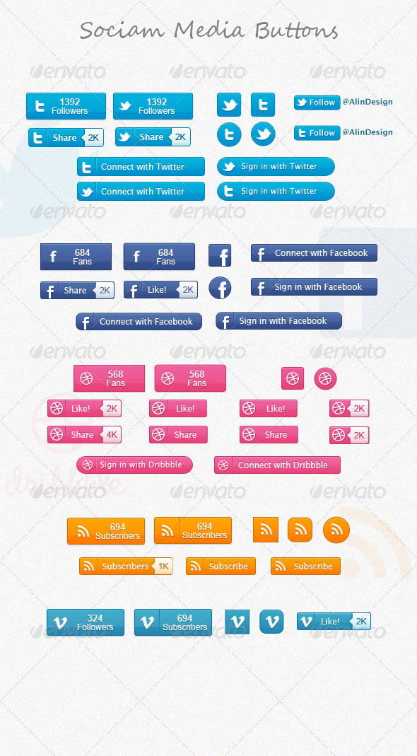 GraphicRiver Social Media Buttons 2302553