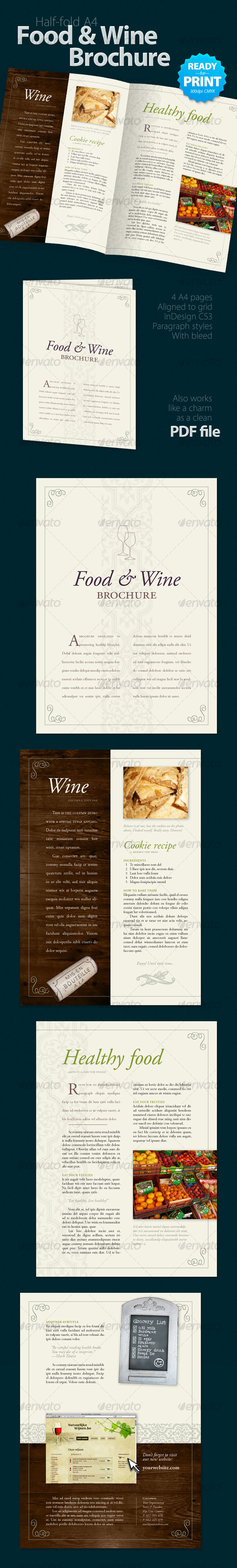 GraphicRiver Food & Wine Brochure 4 Pages 85836
