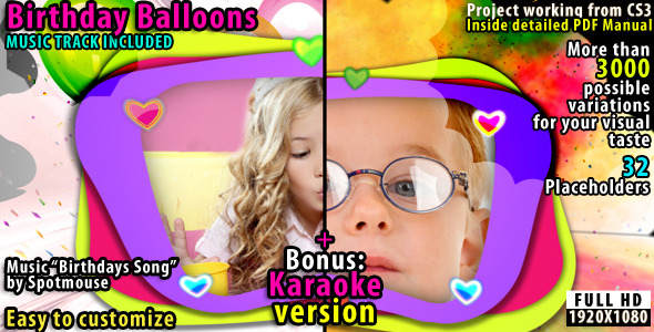 VideoHive Birthdays Balloons 2310572