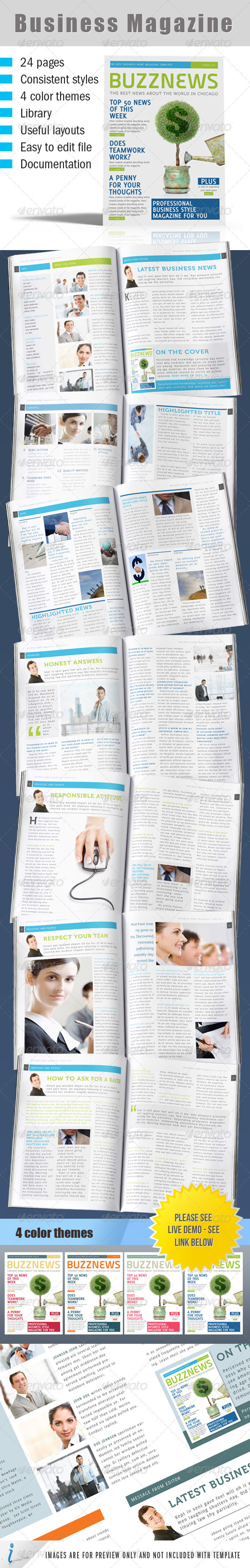 GraphicRiver 24 layouts Business News Magazine 4 color themes 262445