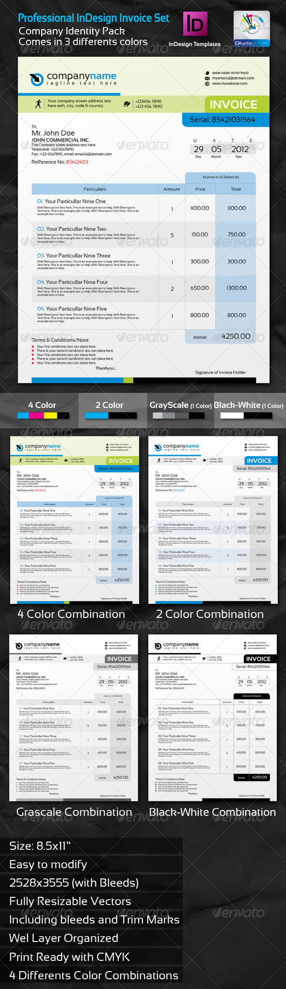 GraphicRiver Professional Invoice InDesign Template Set 2319226