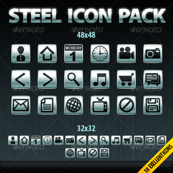 GraphicRiver 18 Steel Icons Package 86341