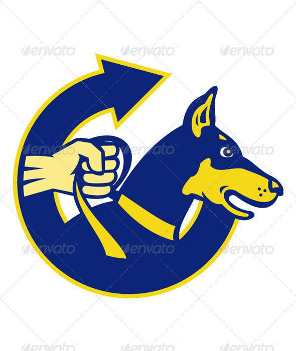 Graphic River Security Dog on a Leash with a Fist Vectors -  Characters  Animals 2333159