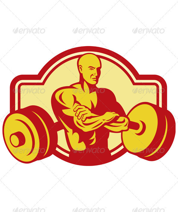 Graphic River Weightlifter with his Arms Crossed Vectors -  Characters  People 2333164