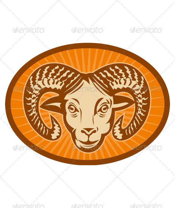 Graphic River Ram Sheep Head Vectors -  Characters  Animals 2333316