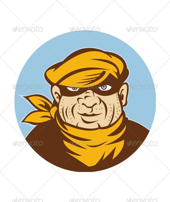 Graphic River Head Shot of a Burglar  Vectors -  Characters  People 2333317