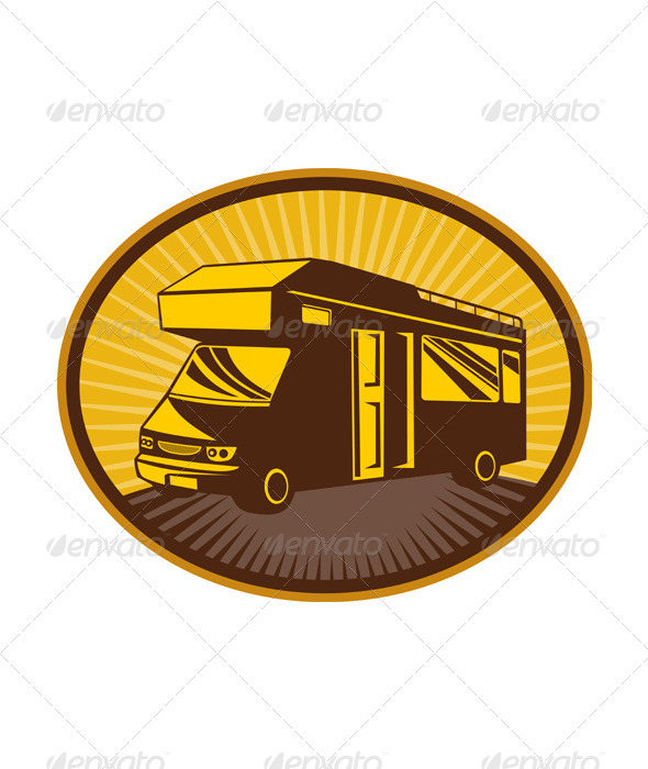 Graphic River Travelling Camper Van Vectors -  Objects  Man-made objects 2333440