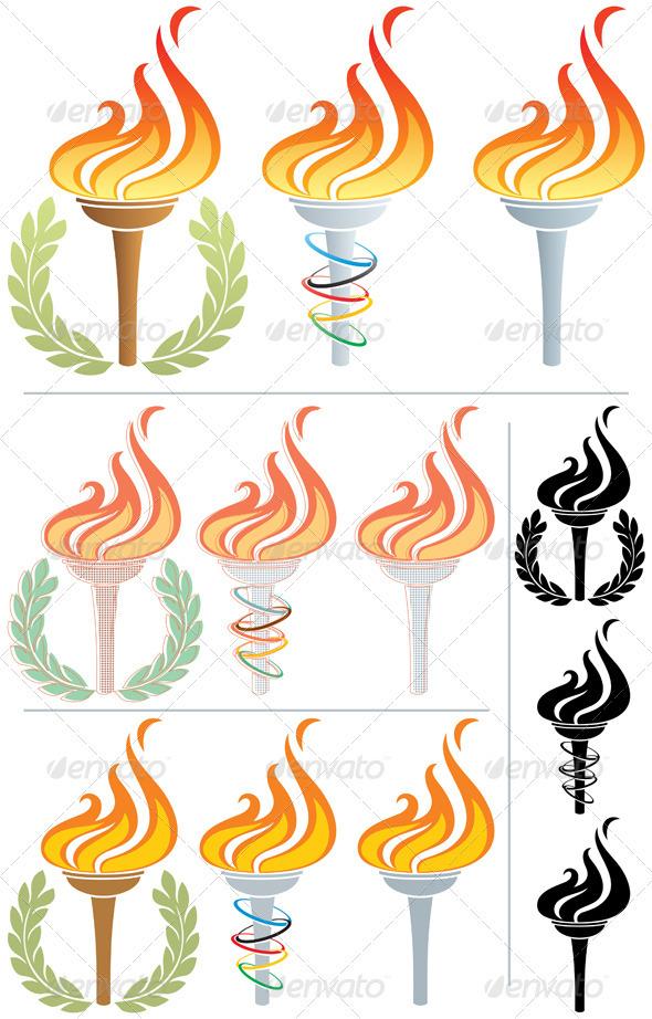 Graphic River Flaming Torch Vectors -  Decorative  Decorative Symbols 2334655