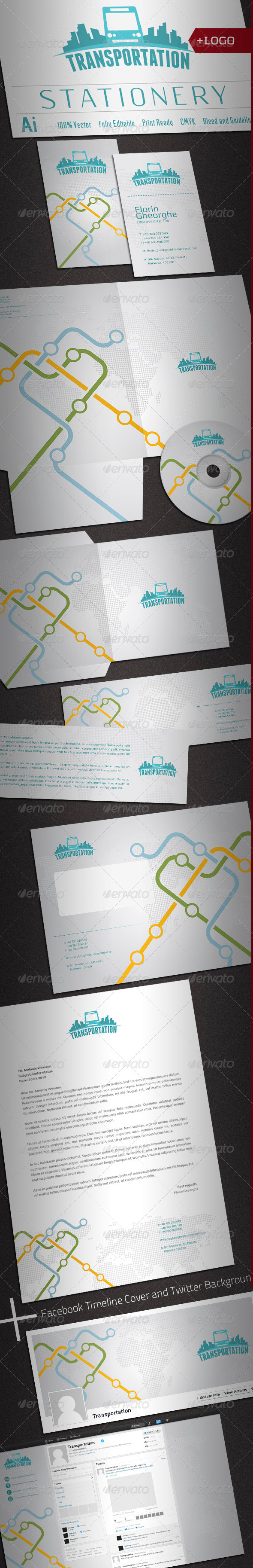GraphicRiver Passenger Transportation Stationery 2316956
