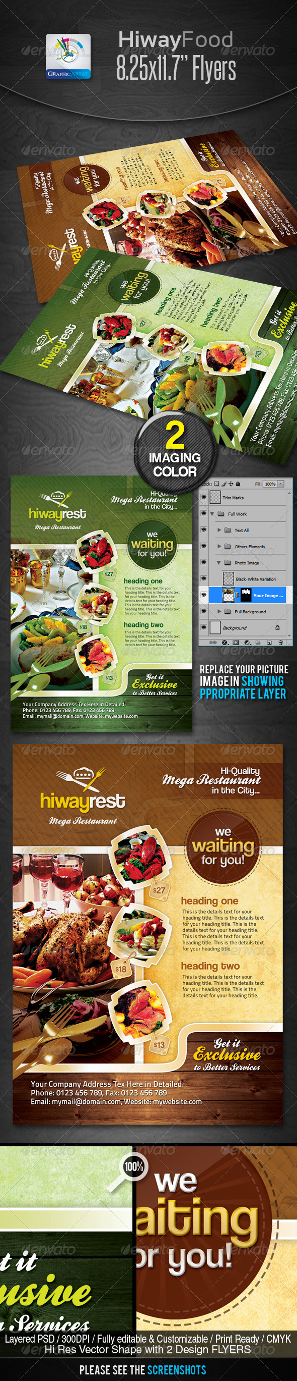 GraphicRiver Hiway Modern Foods Flyers 2335365